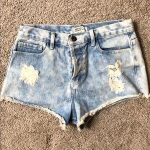 Light Blue Distressed Jean Shorts